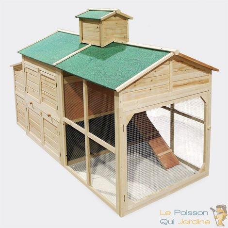 Clapier Forme De Maison - Pour Rongeurs - En Bois Épicéa - 195 cm