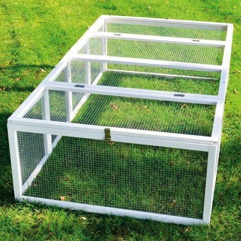 Clapier lapins Rabbit Run 2020 exterieur. Ideal pour petits animaux- particulierement robuste et grand cadre en bois- Cage Mobile -Couleur Blanc