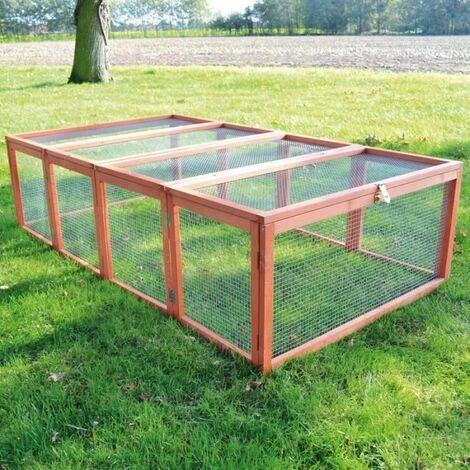 Clapier lapins Rabbit Run 2020 exterieur. Ideal pour petits animaux- particulierement robuste et grand cadre en bois- Cage Mobile -Couleur Bois