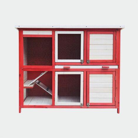 Clapier Poulailler avec deux niveaux et escaliers, rez-de-gigogne, Rot Weiss 117,5 x 41 x 100 cm