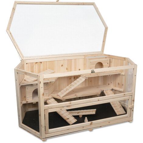 Clapier pour cochon d'Inde FANNY en bois, dimensions: 115x60x58 cm (L/P/H)