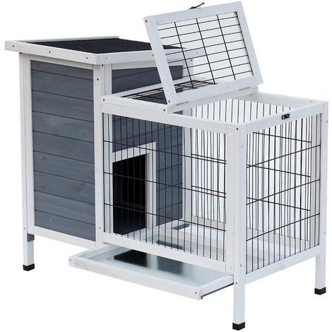 Clapier sur pieds cage à lapin avec niche intérieure plateau excrément coulissant porte supérieure 92L x 51l x 76H cm gris blanc