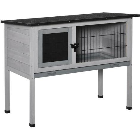 Clapier sur pieds cage à lapin avec niche intérieure plateau excrément coulissant porte verrouillable toit ouvrant bois de sapin gris blanc