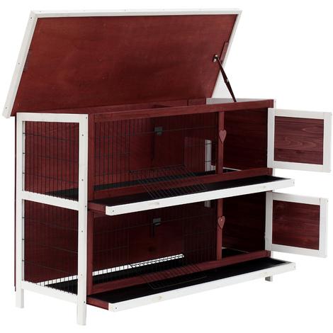 Clapier sur pieds cage à lapin double niveau plateaux excréments coulissants 4 portes verrouillables toit ouvrant 136L x 50l x 93H cm rouge brique