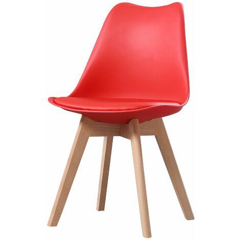 CLARA - 1 chaise scandinave - Gris/Noir - pieds en bois massif design salle à manger salon chambre - 49 x 58 x 82 cm - Gris/Noir