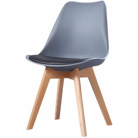 CLARA - 1 chaise scandinave - Jaune - pieds en bois massif design salle à manger salon chambre - 49 x 58 x 82 cm - Jaune
