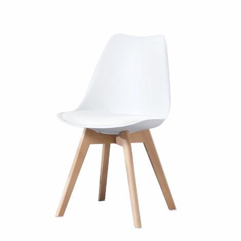 CLARA - 1 chaise scandinave - Rouge - pieds en bois massif design salle à manger salon chambre - 49 x 58 x 82 cm - Rouge