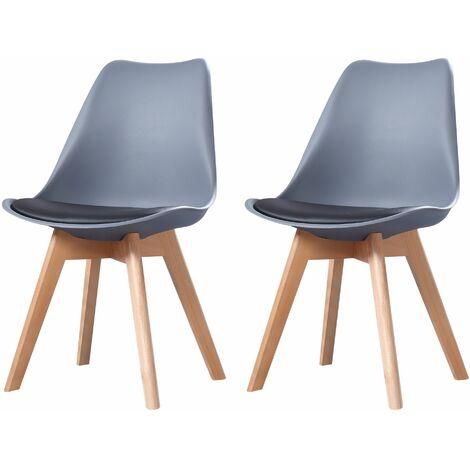 CLARA - Lot de 2 chaises scandinave - Gris/Noir - pieds en bois massif design salle à manger salon chambre - 49 x 58 x 82 cm - Gris/Noir