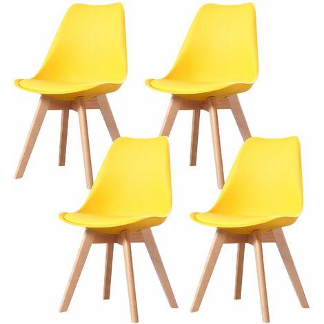 CLARA - Lot de 6 chaises scandinave - Blanc - pieds en bois massif design salle à manger salon chambre - 49 x 58 x 82 cm - Blanc