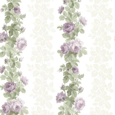 Claremont Fine Decor Purple Stripe Wallpaper White Floral
