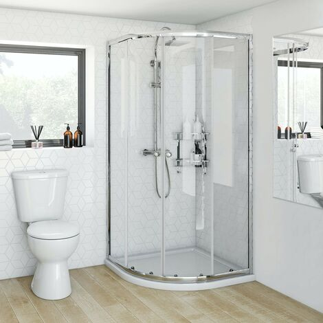 Clarity 4mm quadrant shower enclosure 800 x 800 with Orchard square shower riser system