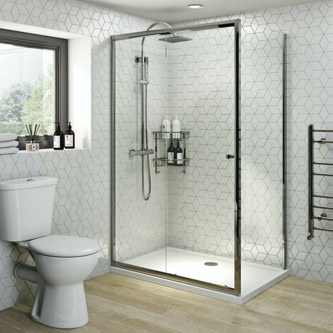 Clarity 4mm rectangular sliding shower enclosure 1200 x 800