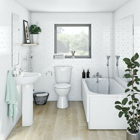 Clarity bathroom suite with straight bath 1600 x 700