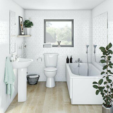 Clarity bathroom suite with straight bath 1700 x 750