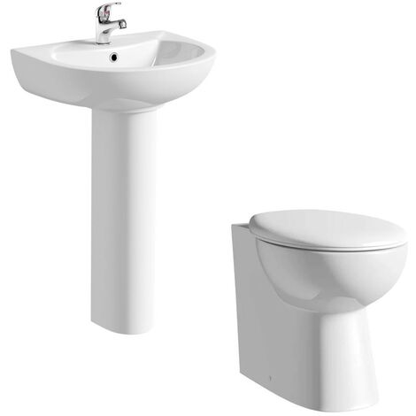 Clarity cloakroom suite with full pedestal basin