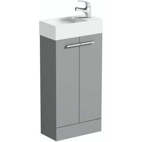 Clarity Compact satin grey floorstanding vanity unit and basin 410mm