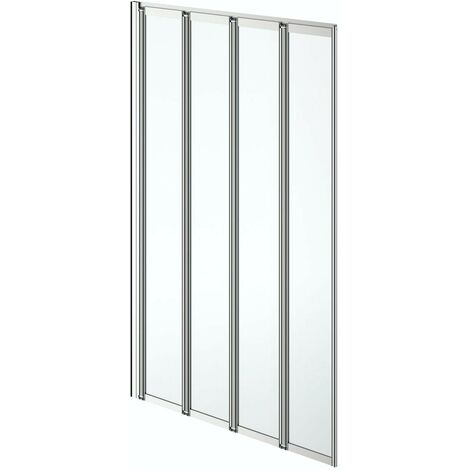 Clarity folding 4 panel straight shower bath screen silver