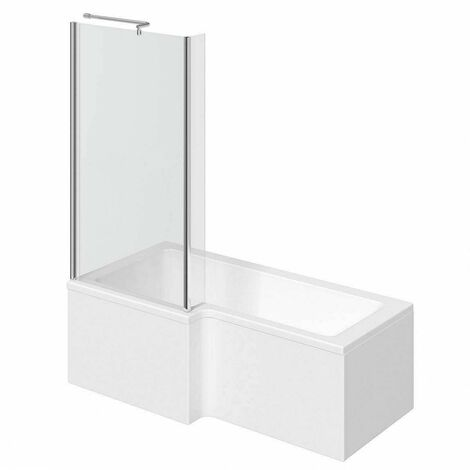 Clarity L shaped left handed shower bath 1700mm with 5mm shower screen