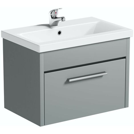 """main image of """"Clarity satin grey wall hung vanity unit and ceramic basin 600mm"""""""