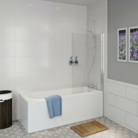 Clarity straight shower bath with 5mm shower screen 1600 x 700