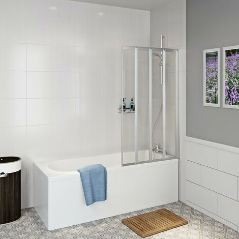 Clarity straight shower bath with folding shower screen 1700 x 700