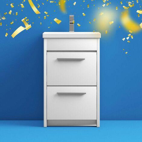 Clarity white floorstanding vanity unit and ceramic basin 510mm