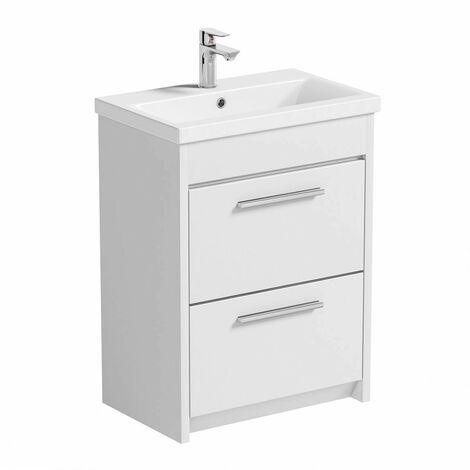 Clarity white floorstanding vanity unit and ceramic basin 600mm