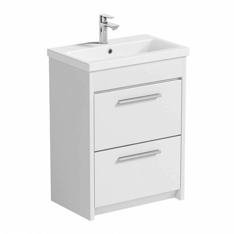 Clarity white floorstanding vanity unit and ceramic basin 600mm with tap