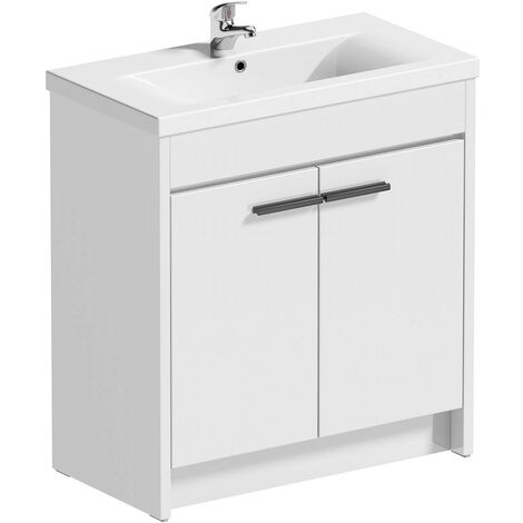 """main image of """"Clarity white floorstanding vanity unit and ceramic basin 760mm with tap and black handles"""""""
