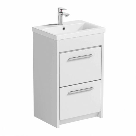 """main image of """"Clarity white floorstanding vanity unit with ceramic basin 510mm with tap"""""""