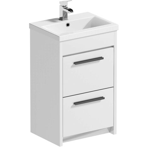 """main image of """"Clarity white floorstanding vanity unit with ceramic basin 510mm with tap and black handles"""""""