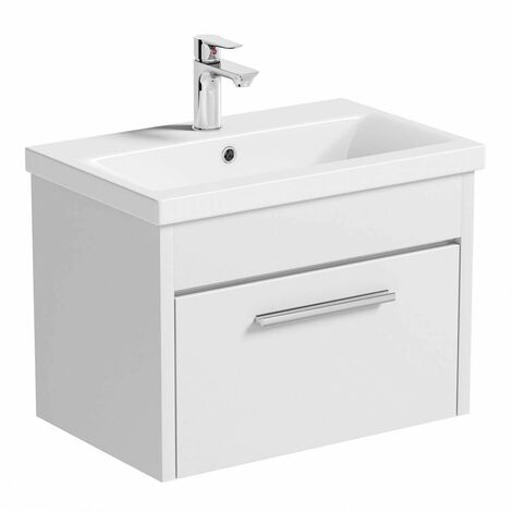 Clarity white wall hung vanity unit and ceramic basin 600mm with tap