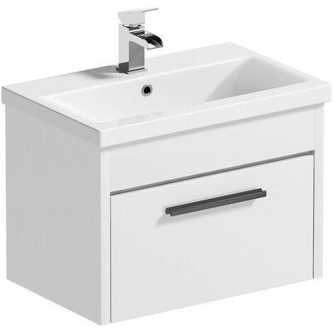 """main image of """"Clarity white wall hung vanity unit and ceramic basin 600mm with tap and black handles"""""""