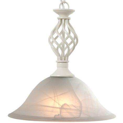 Classic 1 Light Ceiling Pendant Light Cream Add Glass Shade