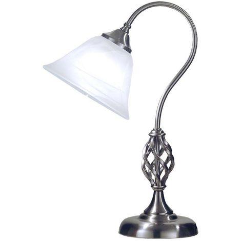 Classic 1 Light Swan Neck Table Lamp In Satin Chrome