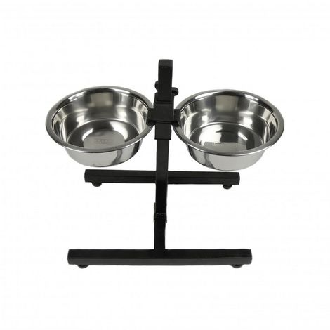 Classic Adjustable Diner Stand With Two Dog Bowls (3 Pieces) (2.6L) (Silver/Black)