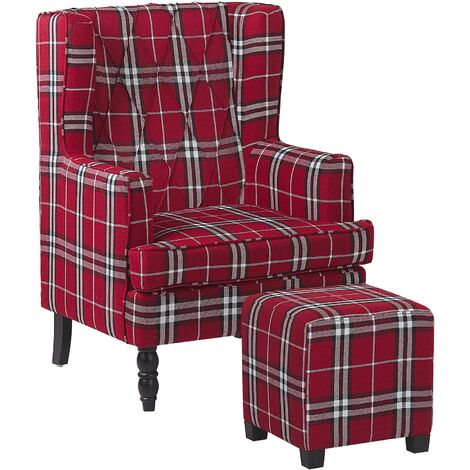 Classic Armchair with Footstool Chequered Pattern Wooden Legs Red and Black Sandset
