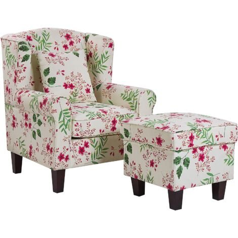 Classic Armchair with Footstool Floral Pattern Wooden Legs Cream Hamar
