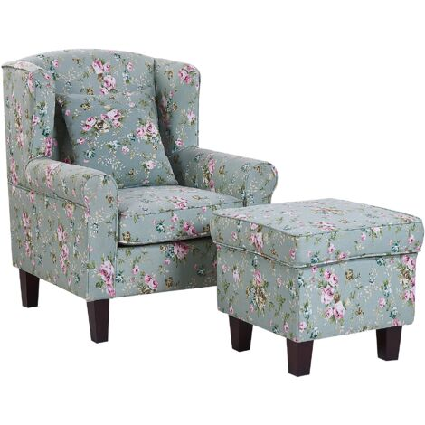 Classic Armchair with Footstool Floral Pattern Wooden Legs Green Hamar