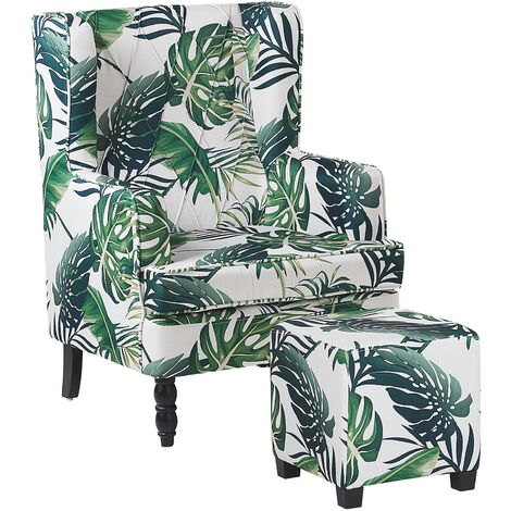 Classic Armchair with Footstool Leaf Pattern Wooden Legs White and Green Sandset
