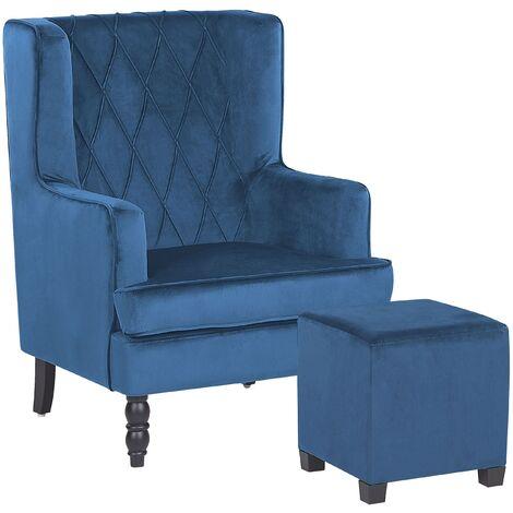 Classic Armchair with Footstool Velvet Fabric Wooden Legs Blue Sandset