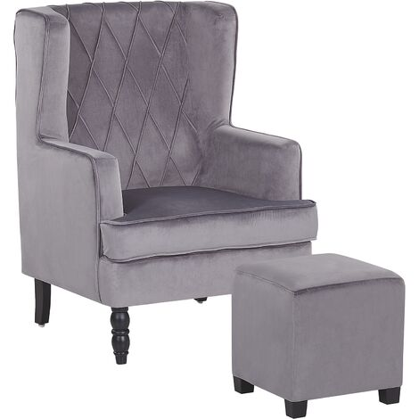 Classic Armchair with Footstool Velvet Fabric Wooden Legs Grey Sandset