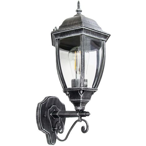 Classic Black/Silver Die-Cast Aluminium Outdoor IP44 Wall Lantern Light Fixture by Happy Homewares