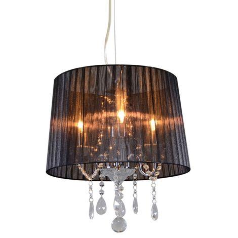 Classic chandelier chrome with black shade - Ann-Kathrin 3