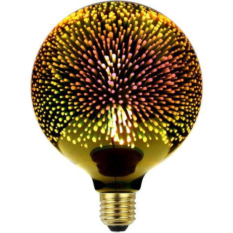 Classic Edison bulb 3D fireworks LED Light source 220/240 V E27 Decorative bulb G125 Gold [Energy class A +]