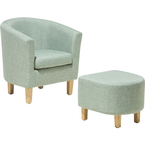 Classic Fabric Tub Chair with Footstool Green Fabric Armchair Living Room Holden