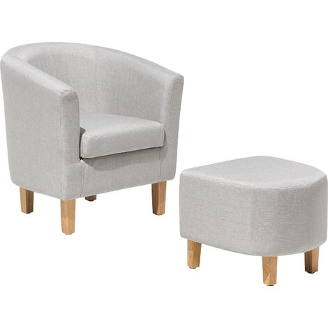Classic Fabric Tub Chair with Footstool Grey Fabric Armchair Living Room Holden
