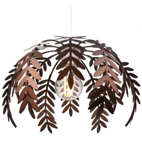 Classic Fern Leaf Design Ceiling Pendant Light Shade in Stylish Bronze Finish by Happy Homewares