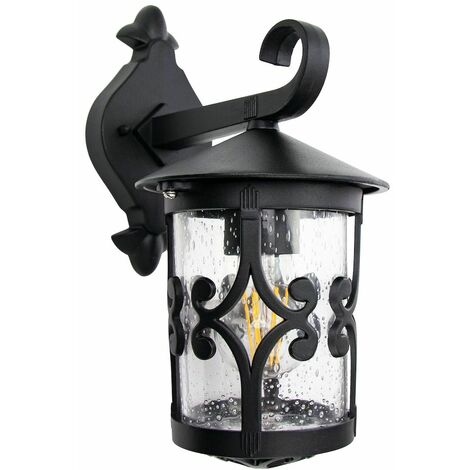 Classic Matt Black Lantern IP44 Outdoor Wall Light with Unique Bubble Glass by Happy Homewares