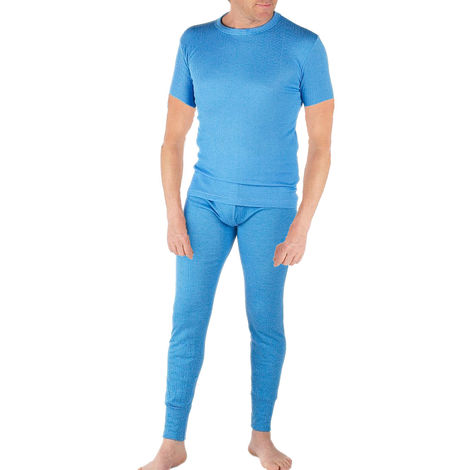 Classic Mens Thermal Underwear Set Short Sleeve Top And Long John Underwear